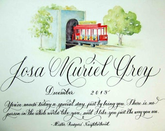 Personalized Baby Plaque with calligraphy and custom art