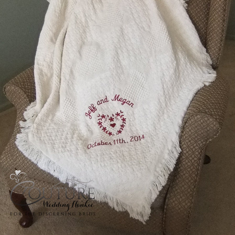 Cotton Wedding Gift: Second Wedding Anniversary Gifts Embroidered Cotton