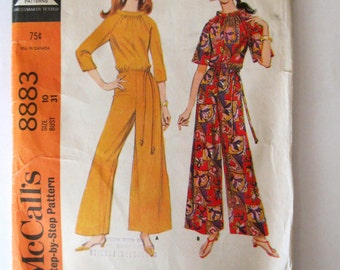 1960s Jumpsuit Pattern, McCalls 8883, Womens Palazzo Pants Pantdress Sewing Pattern, Bell Sleeves, Loungewear, Misses Size 10 Bust 31
