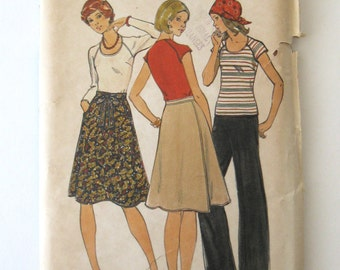 1970s Wrap Skirt, Top & Pants Pattern Butterick 4310 Womens Boho T Shirt Wide Leg Pants Sewing Pattern Misses Half Size 18.5 Bust 41 UNCUT