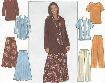 90s Plus Size 2 Hour Womens Tunic, Skirt, Pants & Scarf Simplicity Sewing Pattern 8226 18 20 22 24 Bust 40 42 44 46 UnCut