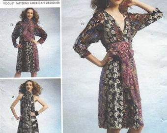Koos Van Den Akker Womens Summer Dress & Tie OOP Vogue Sewing Pattern V1301 Size 4 6 8 10 12 14 Bust 29 30 31 32 34 36 UnCut