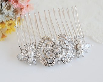 Crystal Bridal Hair Comb, Swarovski Pearl Wedding Hair Comb, Vintage Style Flower Leaf Headpiece, Bridal Hair Clip, Hair Jewelry, EZMAE