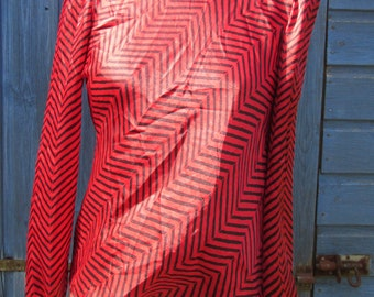 Vintage Early 1980s Red and Black Chevron Stripe New Wave Blouse - Buttoned Side Neck