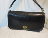 Coach NYC Black Leather Cross Body Bag  - Rare Coach PEBBLED LEATHER Dinky Bag CiaoBabyVintage