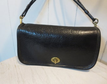Coach NYC Black Leather Cross Body Bag  - Rare Coach PEBBLED LEATHER Dinky Bag