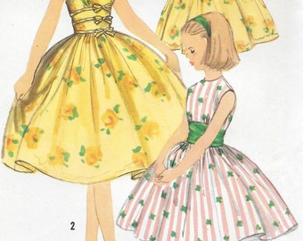 Sz 10-FACTORY FOLDED Girls' 1957 Party Dress Simplicity 2127