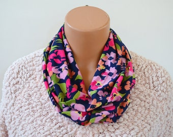 Infinity Scarf Floral Print Cravat Lightweight Scarf Head Wrap Unisex Ascot Christmas Gift Under 20 Summer Posies Print hisOpal Scarves