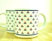 Vintage Copco Country Fine Porcelain Coffee Mugs 1982 Mod Floral Design