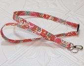 Breakaway Lanyard -  Lanyard - Fabric Lanyard - Teacher Lanyard - Key Lanyard - Badge Holder - Red Print