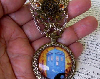 TARDIS Faux Pocket Watch Brooch (P607) - Bronze Faux Pocket Watch Frame - Glass Dome - Steampunk Tardis Image - Swarovski Crystals