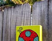 mini painting  4 x 4 canvas Ladybug