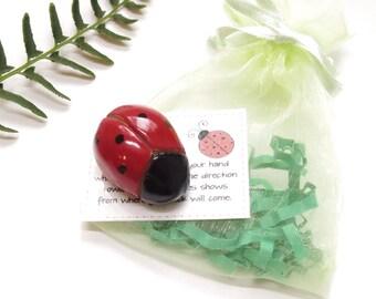 Lucky Ladybug Legend, Artisan Sculpted Pottery, Handmade Ceramic Ladybird Lover Socking Stuffer, Teacher Hostess Gift Under 10, Party Favor