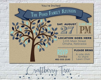 Family Tree Reunion Invitation (DIGITAL FILE) PERSONALIZED