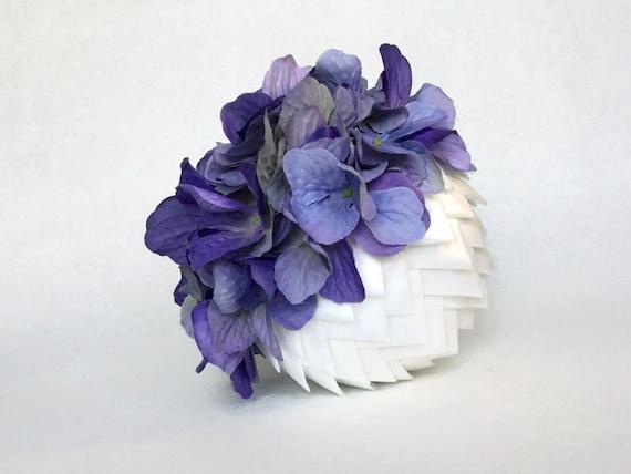 Purple Flowers and Cream Ribbon Wedding Pomander Kissing Ball