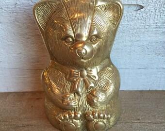 Brass bear bank. Teddy bear coin bank.