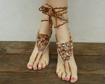 Mint Chocolate - Crochet Jewelry - Barefoot Sandals - Yoga Jewelry - Handmade Sandals - Hippie Jewelry - Soleless Sandals - Festival Jewelry