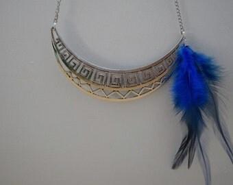 Statement necklace,feather choker,blue necklace,statement bib,blue bib,feathers necklace,feather pendant,tribal necklace,tribal choker