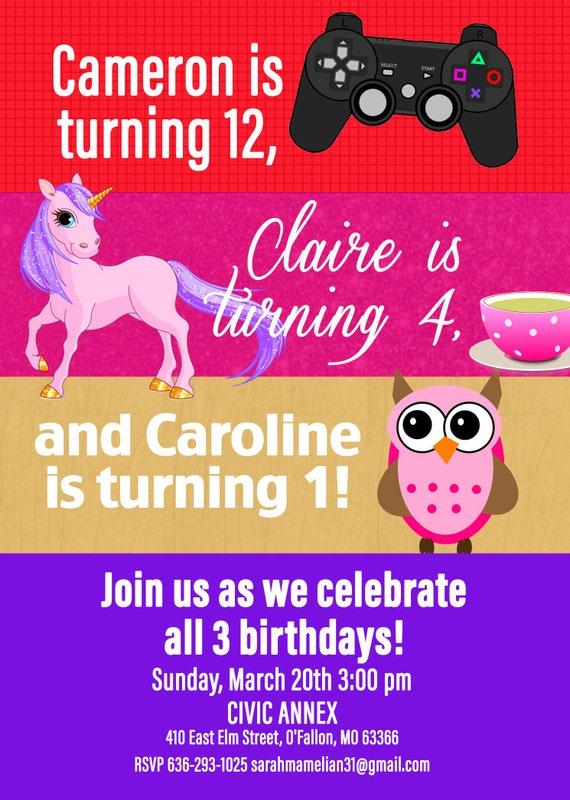 multiple child birthday invite birthday by kjoyeldridgeshop