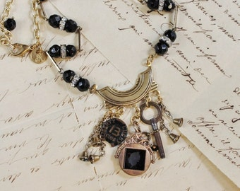 Lucky Number 13- Repurposed Vintage Assemblage Charm Necklace- One of a Kind
