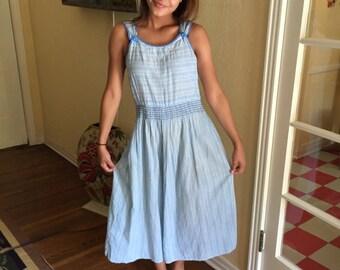 1950s Sundress Light Blue White Sweet Design / Vintage Cotton Dress