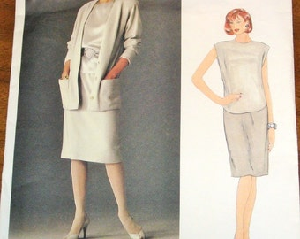 Easy Vintage 1980s Sewing Pattern Vogue American Designer 1147 Anne Klein Jacket Top Skirt Womens Misses Size 10 Bust 32 Uncut Factory Folds
