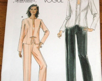 Vogue 8005 Cardigan Jacket, Camisole Top, Pants Womens Misses Easy Sewing Pattern Plus Size 16 18 20 22 Bust 38 40 42 44 Uncut Factory Folds