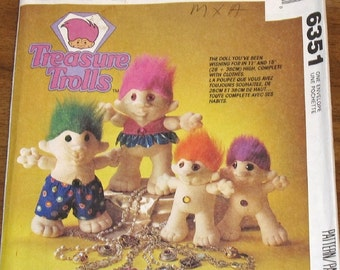 "McCall's 6351 805 Treasure Trolls Soft Sculpture 15"" 11"" Tall Stuffed Dolls and Clothes, Vintage Craft Sewing Pattern Uncut Factory Folds"