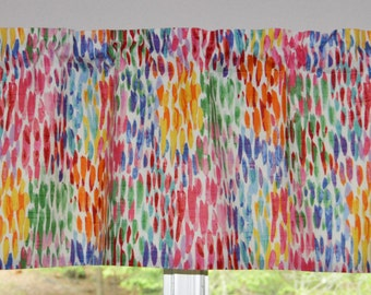Kitchen Valance . Custom Curtains .  Make it Rain - Fiesta . Lined or Unlined . So Colorful . Handmade by Seams Original