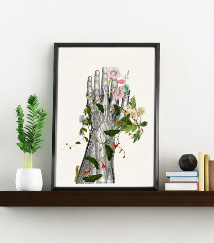 Science Wall Art doctors gift, hand section study art giclee print- science wall