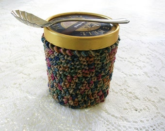 Ice Cream Cozy - Handmade Crochet Ice Cream Holder - Mult Color Brown Pint Ice Cream Sleeve - Pint Size Cozy Cover - Cottage Decor