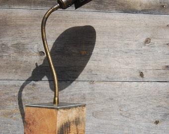 Vintage Industrial Work Lamp with Handmade Vintage Oak Base