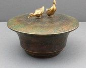 RESERVED Carl Sorensen Bronze Verdigris Patina Bowl, Arts-and-Crafts Style Covered Bowl with Duck Handles, Signed Carl Sorensen, c. 1920s