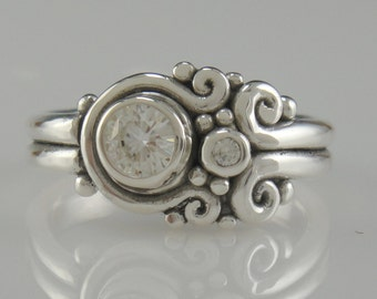 Sterling Silver FEB Moissanite Ring- One of a Kind