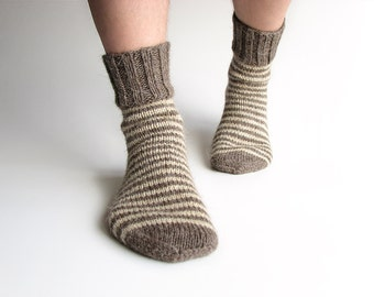 Wool Socks - EU Size 40-42 - Striped 100% Natural Organic - Hand Knitted from Undyed Wool Yarn - Warm Woolen Clothing