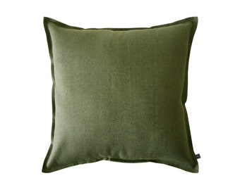 Green decorative pillow cover, Moss green linen throw pillow cover, Linen cushion cover, Green linen accent pillow, Green linen pillow cover