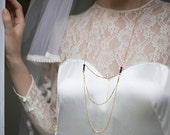 Faust necklace - gold plated 18k Onyx -  triple row necklace downton abbey Victorian reign gatsby 20s - bridal long necklace