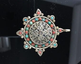 Antique Pendant.  Nepal . Tibet. China. Turquoise Coral.  No.00206 cs