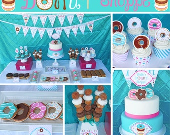 Donut Shoppe Birthday Party decorations Deluxe package PRINTABLE pink teal brown donuts pajama party DIY personalized