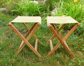Folding Camp Stools Canvas and Wood Camping, Fishing, Outdoors Painting Adirondack Style