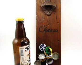 wall mount bottle opener cast iron distressed cedar magnet cap catcher cheers
