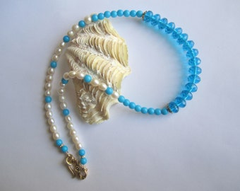Sky Blue Necklace ./. Blue Glass Beads and Pearls ./. Blue and White Necklace ./. Faceted Blue Cristal Beads ./. Lagoon Blue Beads