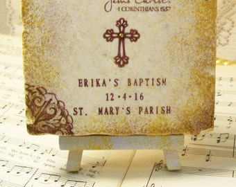 Girls' Baptism Gift - First Holy Communion, Personalized Gift, Cross, 1st Corinthians 15:57, Thanks be to God, Who Gives Us the Victory