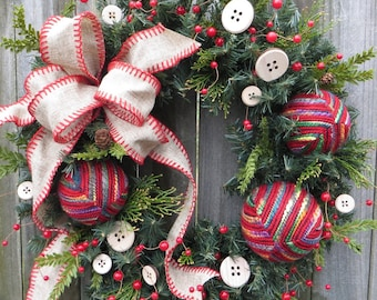 Christmas Wreath with Buttons and Yarn Balls, Warm and Cuddly Christmas Decor, Wooden Buttons, Seamstress, Sewing Room, Christmas Gift