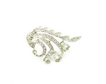 Rhinestone Flower Brooch. Trapezoid Bell Flowers. Pavé Set Crystals. Milgrain Edges. Rhodium Plated. Vintage 1950s Glamour Jewelry