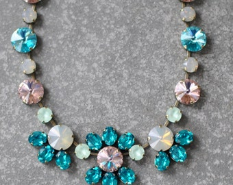 Blue Rainbow Statement Necklace, Teal Blue Peacock French Rose Pink Necklace, chunky necklace, Swarovski Crystal necklace, flower necklace