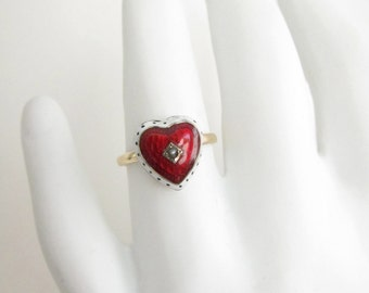 Reserved Antique enamel ring, Victorian guilloche ring,  Two Girls Gems