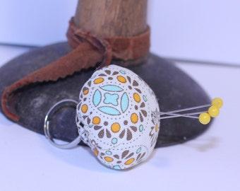 Pin Cushion Ring, Adjustable Pin Cushion Ring, Orange/Blue/Brown Pin Cushion Ring, Country Fabric Ring
