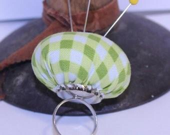 Pin Cushion Ring, Adjustable Pin Cushion Ring, Green/Yellow Pin Cushion Ring, Green/Yellow Fabric Ring