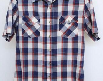 Plaid Shirt Mens Medium Unisex Womens Vintage Short Sleeve Red White Blue Kingsport Western Cut